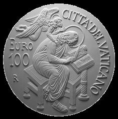 Monetazione Aurea da 100 €, verso di modello in gesso. Committente: Città del Vaticano, 2015.