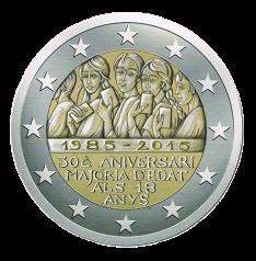Disegno per Moneta da 2€. Committente: Principato d' Andorra, 2015. Non coniata