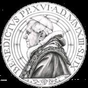 Disegno per il recto della Monetazione Aurea da 50€. Committente: Città del Vaticano, 2013.