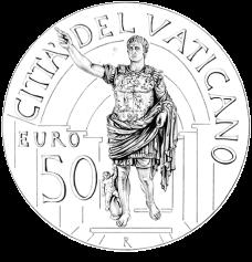 Disegno per il recto della Monetazione Aurea da 50€. Committente: Città del Vaticano, 2010.
