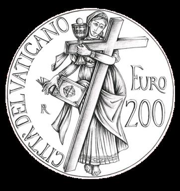 Disegno per il verso della Monetazione Aurea da 200€. Committente: Città del Vaticano, 2012.