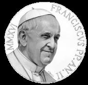 Disegno per il recto della Moneta da 10€. Committente: Città del Vaticano, 2014.