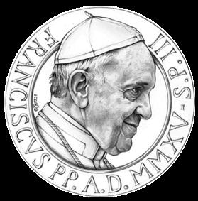 Disegno per il recto della Monetazione Aurea da 100€. Committente: Città del Vaticano, 2015.