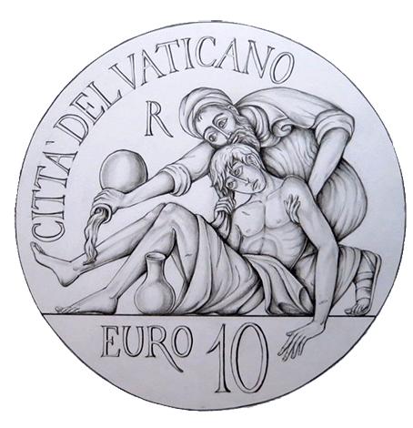 Disegno per il verso della Moneta da 10€, Committente: Città del Vaticano, 2014