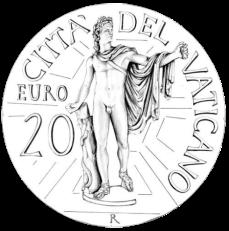 Disegno per il verso della Monetazione Aurea da 20€. Committente: Città del Vaticano, 2010.