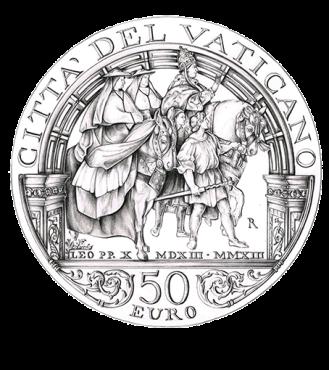 Disegno per il verso della Monetazione Aurea da 50€. Committente: Città del Vaticano, 2013.