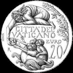 Disegno per il verso della Moneta da 20€, Committente: Città del Vaticano, 2017