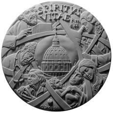 Recto di modello in gesso per la realizzazione di medaglie coniate in bronzo, realizzata per la PONTIFICIA ACCADEMIA PRO VITA. Committente: Città del Vaticano, 2017