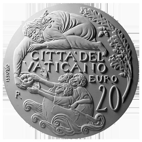 Moneta da 20€, verso di modello in gesso. Committente: Città del Vaticano, 2017