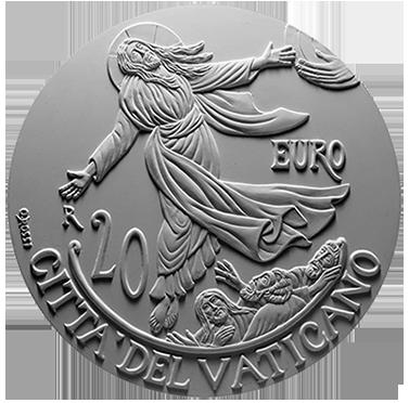 Moneta da 20€, verso di modello in gesso. Committente: Città del Vaticano, 2018