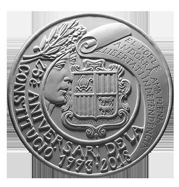 Moneta da 5/50€, recto di modello in gesso. Committente: Principato D'Andorra, 2017