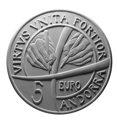Moneta da 5€, verso di modello in gesso. Committente: Principato D'Andorra, 2017