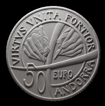 Moneta da 50€, verso di modello in gesso. Committente: Principato D'Andorra, 2017