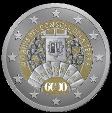 Disegno per verso moneta da 2 €. Committente: Principato D'Andorra, 2018