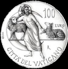 Disegno per il verso della moneta da 100€. Committente: Città del Vaticano, 2018