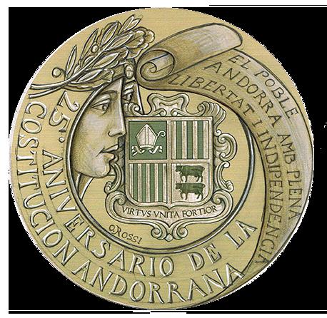 Disegno per recto moneta da 5/50€. Committente: Principato D'Andorra, 2017