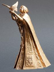 """""""Pace e Comunione dei Popoli"""". Modellazione eseguita in plastilina e fusa in bronzo, cm 23x12x18. destinata ai capi di Stato. Committente: Città del Vaticano, 2020"""